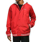 Primitive Men's Lightweight Two-fer Varsity Hooded Jacket Red Clothing Apparel