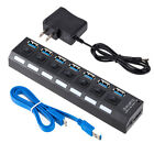 4/7-Port USB 3.0 Hub Power Adapter Cable For PC Laptop External Extension Ports