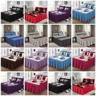 """23"""" Deep Quilted Bedspread Frill Floral Box Stitched Pillowcase Bedding Bed Size image"""