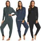 Women Hooded Long Sleeve Zip Up Fleece Lined One-Piece Pajamas Sleepwear MY8L