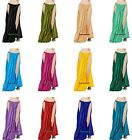 Women Lady Satin 2 Slit Panel Skirt Belly Dance Tribal Oriental 9 Yd Gypsy Jupe