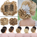 Comb Clip In Hair Bun Wave Curly Real Natural Chignon Updo C