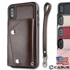 Leather Wallet with Strap Flip Cover Card Case FOR iPhone XS 8/7/6s Plus