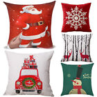 Set of 2 Santa Deer Snow Cotton Linen Christmas Throw Pillow Case Cushion Cover image