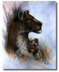 Wild African Lioness & Cub Ruane Manning Wall Art Print Picture