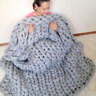 120*150cm Chunky Crochet Knit Wool Blanket Thick Yarn Merino Bulky Knitted Throw image