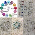 Crystal stones-HORSESHOE-smiley piercing,COATED,cartilages,lip ring, 3 FOR 2