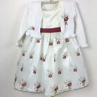 American Princess Girls Occassional Dress Floral Embroidered Cream Red 4T 5T