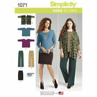 S1071 Simplicity Sewing Pattern EASY Misses 4-26 Knit Skirt