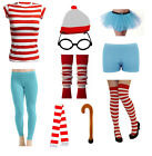 FANCY DRESS COSTUME RED WHITE STRIPED OUTFIT PARTY ACCESSORY SET WHERES HEN DO
