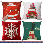 2X Christmas Linen Pillow Case Xmas Cushion Cover Square 18 Inch Red Green White image