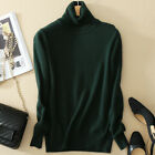Women's Slim Knitted Turtleneck Cashmere Long Sleeve Jumper Pullover Sweaters US