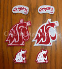 Iron or Sew On Transfer Applique WSU Cougars Washington Cotton Fabric Patch Set