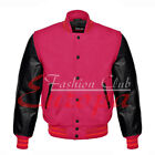 American Unisex Black Real Leather Sleeves Letterman College Varsity Wool Jacket
