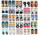 ANIMALS DESIGN Printed 3D Ankle Socks Low Cut Unisex Cotton Blend Multicolour