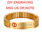 Gold Plate Men Medical Alert ID Stretched Bracelet Cuff Wristband Free Engraving