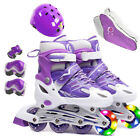 Kids Boy Girl Inline Adjustable Roller Skates Helmet&Knee Pads Set Pink Purple