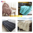 New Giant Wool Blanket Chunky Knit Throw Bulky Thick Yarn Arm Birthday Gifts image