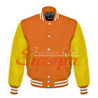 American Unisex Yellow Real Leather Sleeve Letterman College Varsity Wool Jacket