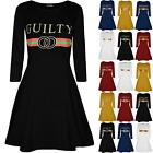 Womens Guilty Printed Jersey Flared Long Sleeve Party Ladies Skater Swing Dress