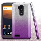 For ZTE Max XL/Blade Max 3 Gradient Glitter Bling Hybrid Protector Case Cover