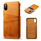 For iPhone XS Max XR Leather Wallet Card Slot Holder Flip Stand Back Cover Case