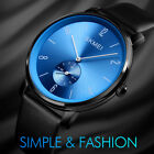 SKMEI Mens Large Dial Waterproof Stainless Steel Leather Band Casual Dress Watch image