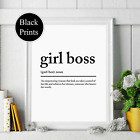 girl boss noun definition wall Print bedroom wording Picture Quote  black white