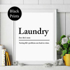 Laundry Definition noun wording Picture Quote utility room black white