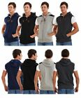 New Men's Brand Stone Edge Patched Shoulder Zipper Jumper Sleeveless Hoodie Top