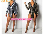 USA Women Deep V-Neck Long Sleeve Body con Sequined Party Night Club Mini Dress