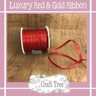 LUXURY CHRISTMAS RED & GOLD RIBBON -- 3mm Width --Various Lengths