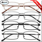 4 Pair Reading Glasses Men Women Unisex with Spring Hinge Metal Pack Readers New