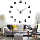 3D DIY Large Frameless Wall Clock Mirror Number Sticker Modern Home Decal Decor