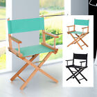 Folding Directors Chair With Wood Frame Ventilated Oxford Fabric Seat Beech