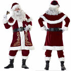 Mens Deluxe Regal Plush Santa Clause Costume Suit Father Christmas Fancy Dress
