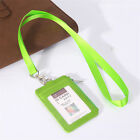 ID Badge Card Holder Lanyard Necklace Zipper Card Case Business ID Bag Leather
