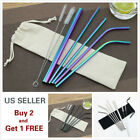 4/7Pcs Stainless Steel Drinking Straws Reusable Smoothie for Yeti Tumbler