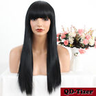 Fashion Synthetic None Lace Wig with Bangs Silky Straight Long Hair Full Wigs 24