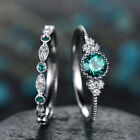 2pcs/set Women Wedding Engagement Rings 925 Silver Crystal Topaz Ring Jewelry