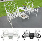 Metal Chair Outdoor Garden Bench Middle Small Table High Back 2 Seater