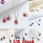 3pcs/set Chain Jewelry Set Crystal Pendant Necklace Earring Ring Set New Fashion