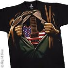 AMERICAN-MUSIC IN ME-GUITAR-USA-DRUMSTICKS-BLACK T SHIRT L, XXL AWESOME image