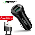 Ugreen Fast Car Charger Adapter 5.4A Dual USB QC 3.0 for iPhone 8 X With Cable
