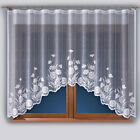 Beautiful Ready-Made white Jacquard Net Curtain with lace trim