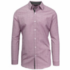 Galaxy by Harvic Mens Slim Fit Shirt Button Down Check Gingham Long Sleeve Laven