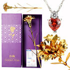 Best Mother  s Day Birthday Romantic Gift : 24K Gold Carnation, Crystal Necklace