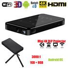 4K Smart DLP LED Mini Projector 8G Home Theater Android 6.0 2.4G WiFi Bluetooth
