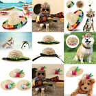 Cute Pet Cat Puppy Dog Straw Hat Adjustable Mexican Sombrero Photography Props