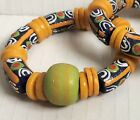 Bracelet African Trade Bead Ethnic Authentic Green Yellow or Orange Large Bead